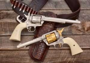 The last word in Colts was a hand engraved revolver by L.D. Nimschke. Adams & Adams has recreated two of the legendary New York City engraver's most recognized styles for the 5-1/2 inch and 7-1/2 inch Umarex Colt Peacemakers. Both models have rifled barrels and shoot 4.5mm pellets. (Holster by John Bianchi's Frontier Gunleather)