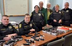 County Deputies get their (air) guns. The presentation of Umarex S&W M&P40 pistols, spare magazines and accessories for the pilot training program took place Thursday, January 12 at the Bedford County Sheriff's Office, in Bedford, PA. The author (third from right) along with County Sheriff Charwin Reichelderfer (fourth from right) drafted the pilot training program for Umarex-USA.