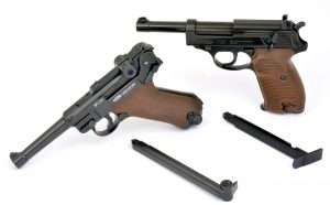 The Umarex Walther P.38 and Gletcher (as well as Umarex) P.08 Parabellum CO2 models both use similar internal operation with separate CO2 channels in the grip frame and stick BB magazines with full size floor plates to give the guns proper dimensions and appearances.