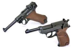 The P.38's barrel length is slightly shorter (internally) at 4.75 inches, overall length of the gun is 8.5 inches and carry weight 30.5 ounces; very close to the original P.38's weight of 33.5 ounces. The P.08 weighs in at 36 ounces with standard 4-inch barrel and empty magazine, which is about five ounces heavier than a 9mm, and has an overall length of 8.74 inches; identical to the 9mm model.