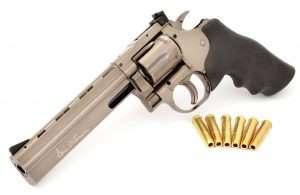 The ASG Dan Wesson Model 715 is a nearly exact copy of the current cartridge-firing guns.