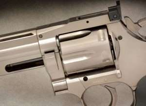 One of only two CO2 powered Dan Wesson models with the original-style crane-mounted cylinder latch release, the high polish gunmetal grey pellet model (and nickel BB version) are the most authentic of the ASG Dan Wesson revolvers.