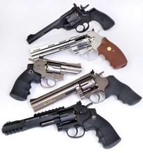 The candidates for best double action trigger from top to bottom, Webley MKVI, Umarex Colt Python, ASG Dan Wesson 2-1.2 inch barrel model, Dan Wesson Model 715 6-inch model, and Umarex S&W 327 TRR8.