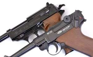 Both guns have authentic external features, the P.08 and P.38 use correct-style thumb safeties.