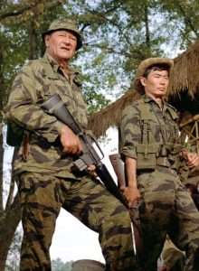 Among Wayne's most noteworthy roles was U.S. Army Col. Mike Kirby in The Green Berets. This 1968 Vietnam era film was John Wayne's last war movie. (Wayne is shown in this still from the film with actor George Takei)