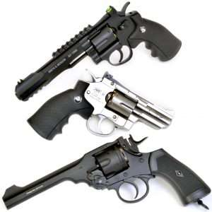 The top three double action models, Umarex S&W 327 TRR8, ASG Dan Wesson 2-1/2 inch, and Webley MKVI.