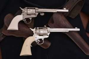 The same can be said for the 7-1/2 inch Colt Peacemaker, the gun at top is a real engraved .45 Colt.