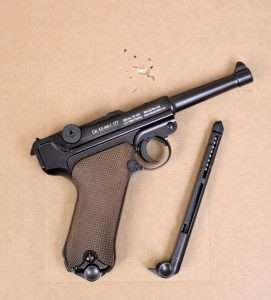 The Gletcher P.08 out shot the P.38 by a slight margin with 15 rounds inside of 1.50 inches, and a best group (in one ragged hole) of 9 shots measuring 0.75 inches edge to edge