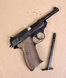 The P.38 has a heavier, longer trigger pull than the P.08 and lighter slide rebound (airgun recoil) than the Luger's toggle link The P.38 punched 15 rounds at 400 fps into a 1.75 inch circumference with a best group of five 5 rounds at 0.625 inches in the center.