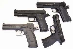These four blowback action CO2 models have the best overall authenticity, operating features, balance in the hand, triggers, and sights of the air pistols tested. In price, the Tanfoglio is the most expensive with a $189 MSRP but the lowest at a discounted price of $80; the Sig is the next with an MSRP of $149 and a discounted price of $110, both the Colt 1911 and M&P40 have MSRPs of $120 and discounted prices of $100 and $90, respectively.