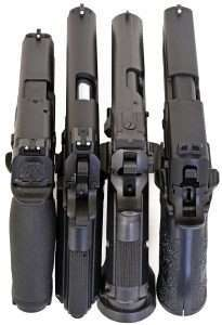 Of the four top guns three have white dot front sights, two have black rear sights, and one has a black front sight.
