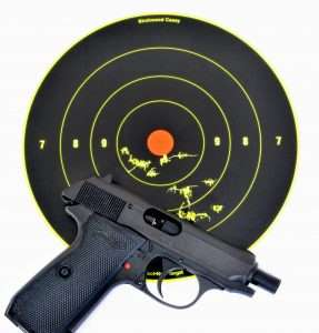 The PPK/S CO2 pistol is a little slower with a velocity well under 300 fps, but at 15 feet it can still deliver modest accuracy. Best 5-shot group on this target (total of 10 shots) measured 1.25 inches.