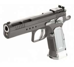 The 9mm Tanfoglio model (pictured) is slightly different with a ported slide and two-tone finish with grey frame and slide, and silver-tone slide release, safety, grips and mag well.