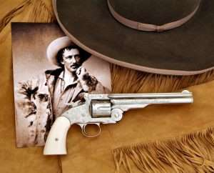 Texas Jack Omohundro was with Buffalo Bill's theater troupe from 1872 to 1876 when he left to write and perform on his own, along with his Italian born wife Giuseppina. The Schofield pictured was the prototype for the America Remembers .45 caliber Texas Jack commemorative model, as well as the basis for the current hand engraved .177 caliber Schofield CO2 model.