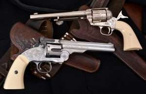 The 7-1/2 inch Peacemaker followed in 2016 and is now offered in the same elegant hand engraved Nimschke patter in all nickel. The Schofield also arrived in 2016 and has become the most talked about of .177 caliber Old West air pistols. This is also now offered in a nickel finish and with authentic to the period hand engraving. These single actions are as realistic as an airgun can be.