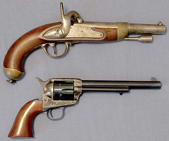 1822 French martial pistton and Colt single action