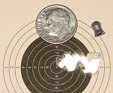 Air Venturi Tech Force breakbarrel air rifle 10 meter group JSB Exact 16 grain pellets