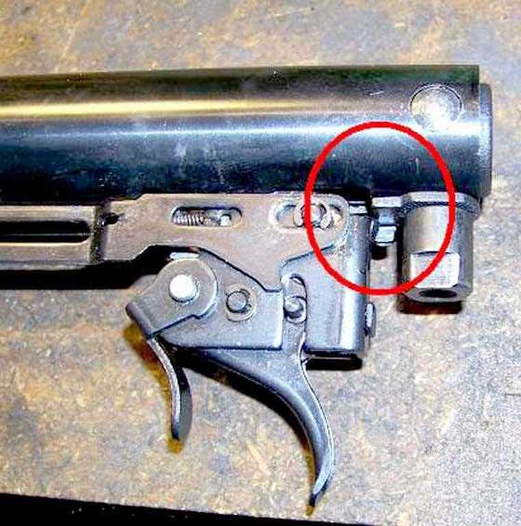 Gas spring trigger relocated