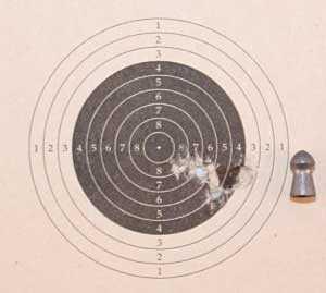 Theoben Crusader air rifle Gamo TS-10 group