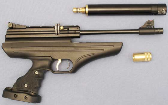 Hatsan AT P1 PCP air pistol reservoir removed