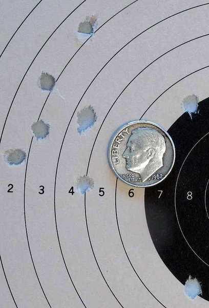 Gamo P-25 air pistol target with Gamo Match pellets