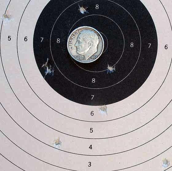 Gamo P-25 air pistol target with Gamo Raptor pellets