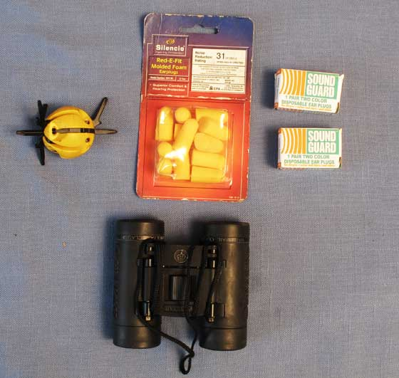 earplugs and binoculars