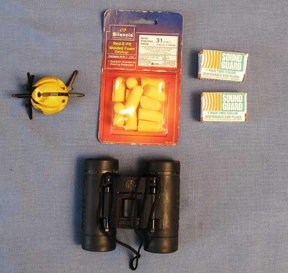 earplugs and binoculars