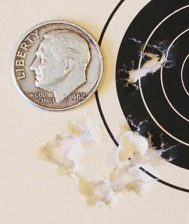 Hatsan AT P1 PCP air pistol first 10-shot group 25 yards Beeman Kodiak
