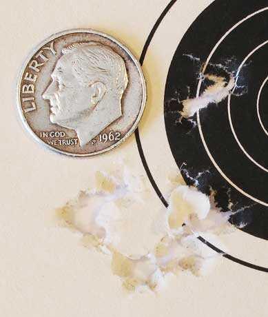 Hatsan AT P1 PCP air pistol first 10-shot group 25 yards Beeman Kodiak