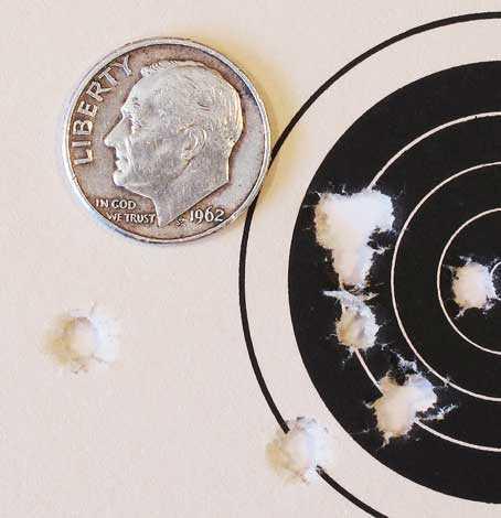 Hatsan AT P1 PCP air pistol first 10-shot group 25 yards Crosman Premiers