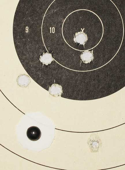 swaged bullet test 25 yards patched ball