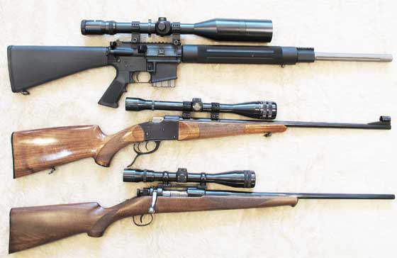 three rifles