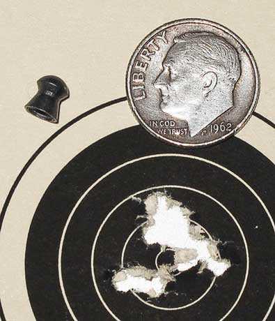 Crosman MTR77NP scoped air rifle Beeman R8 group Falcon pellets 25 yards