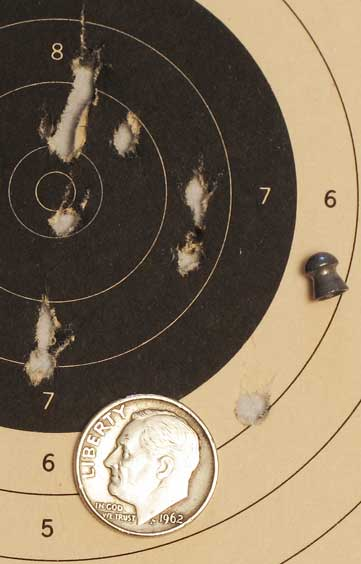 See All Open Sight accuracy test first 10-shot group 10 meters