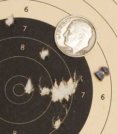 See All Open Sight accuracy test second 10-shot group 10 meters