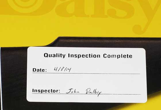 Daosy 880 inspection sticker