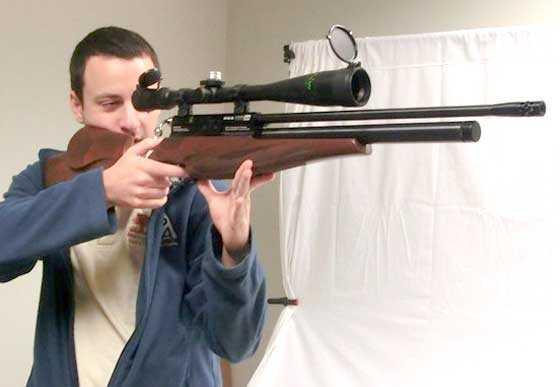 BSA Scorpion SE beech stock holding rifle