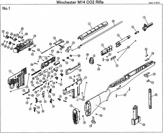 Winchester MP4 CO2 rifle M14 parts diagram