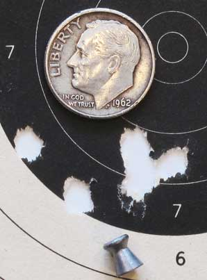 Dan Wesson pellet revolver RWS R10 group