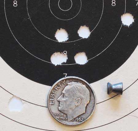 Dan Wesson pellet revolver Finale Match double action group