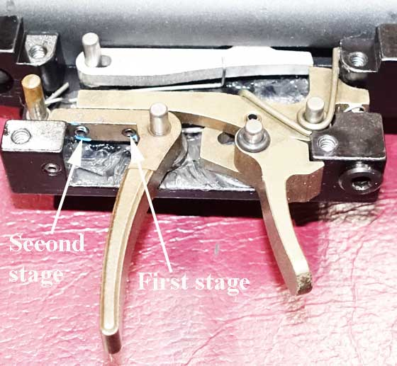 Benjamin Marauder synthetic stock trigger assembly exposed