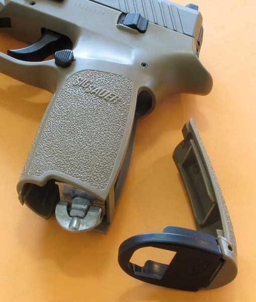 Sig P320 pistol backstrap off
