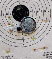 Sig P320 pistol Hornady Black Diamond BB target