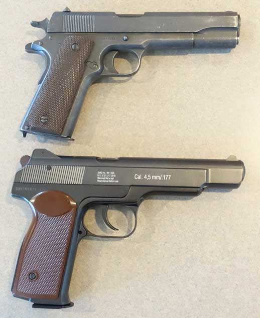 Gletcher Stechkin APS BB pistol with 1911