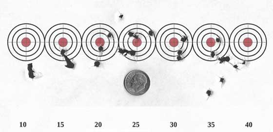 trajectory 10 to 40 yards