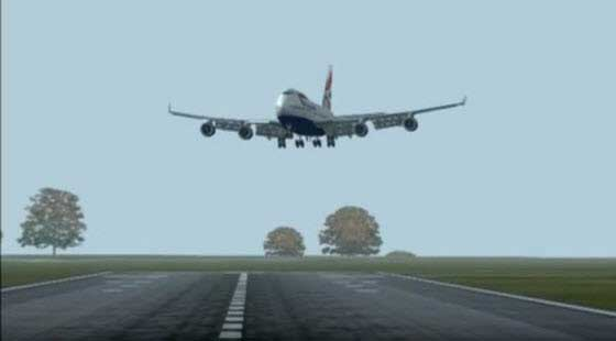 747 cross wind landing