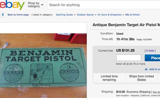 Benjamin 310 Ebay listing updated