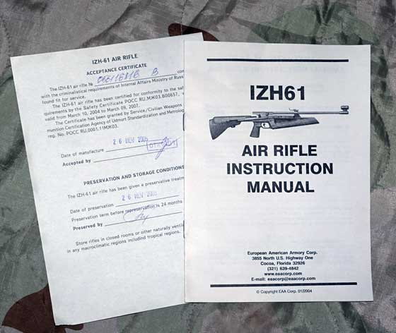 IZH 61 manual and certificate