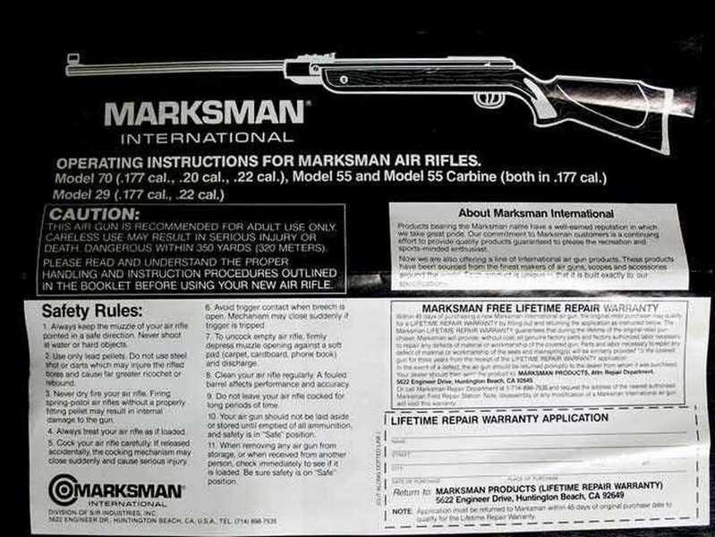 Marksman 70 manual front